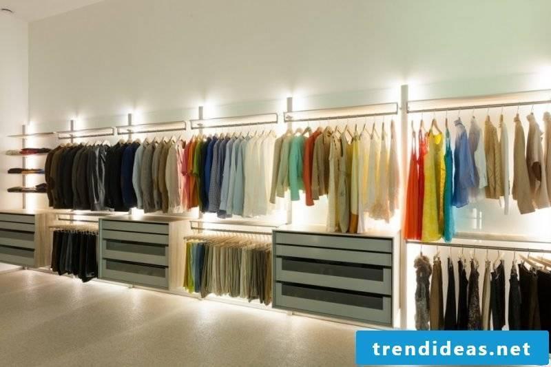 dressing room matching lighting walk-in wardrobe