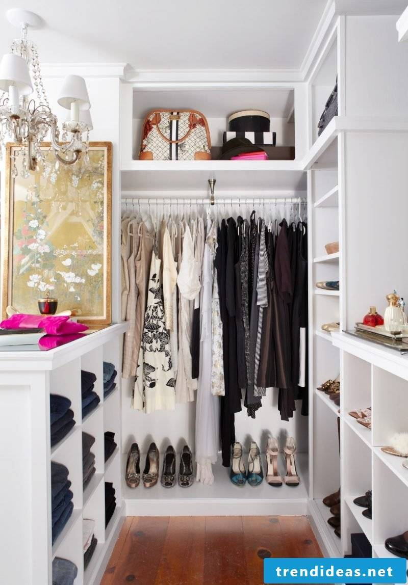 small walk-in wardrobe itself make light shoes white