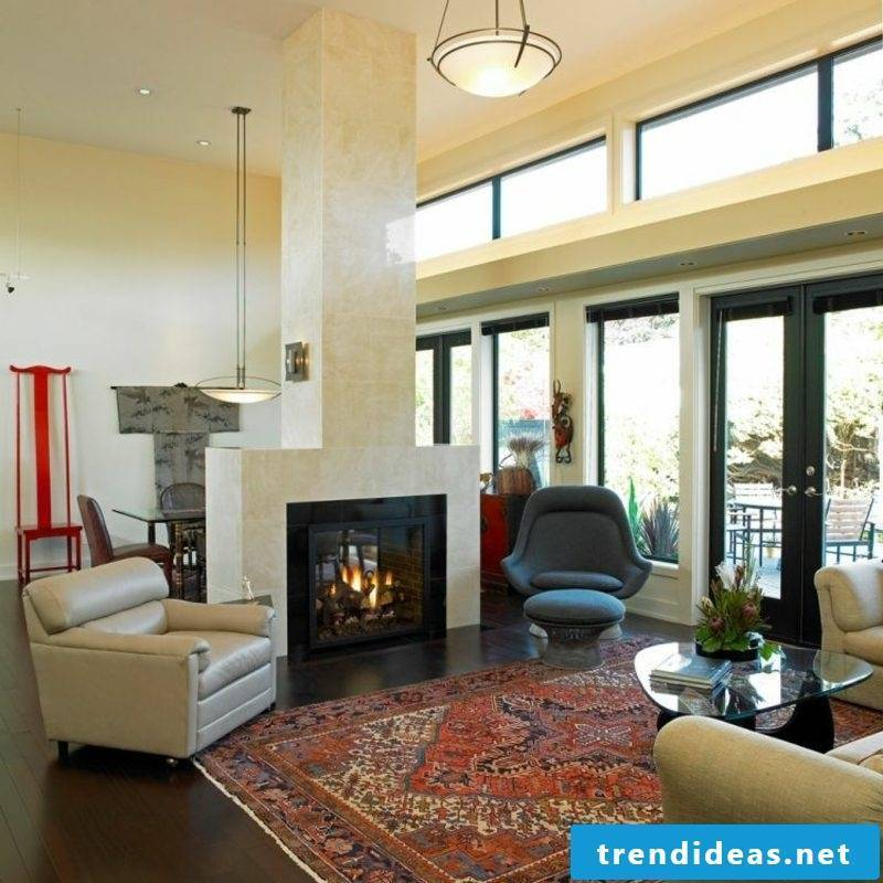 Living room with fireplace large oriental rug