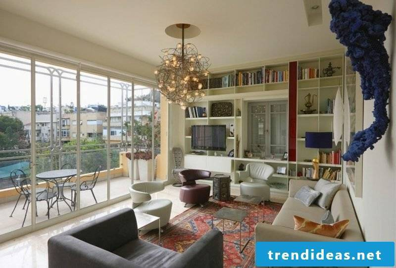 modern living room with oriental rug