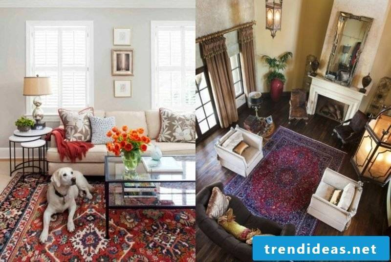 Oriental carpet as an accent in the interior two living rooms