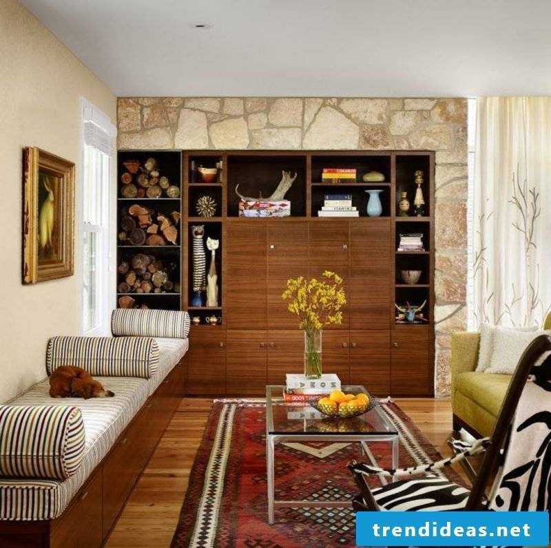 Oriental rug red living room modern accent wall made of natural stone