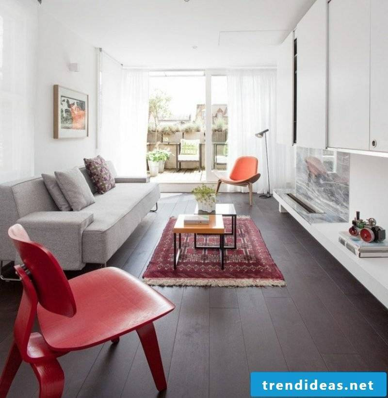 small oriental rug modern living room in Scandinavian style