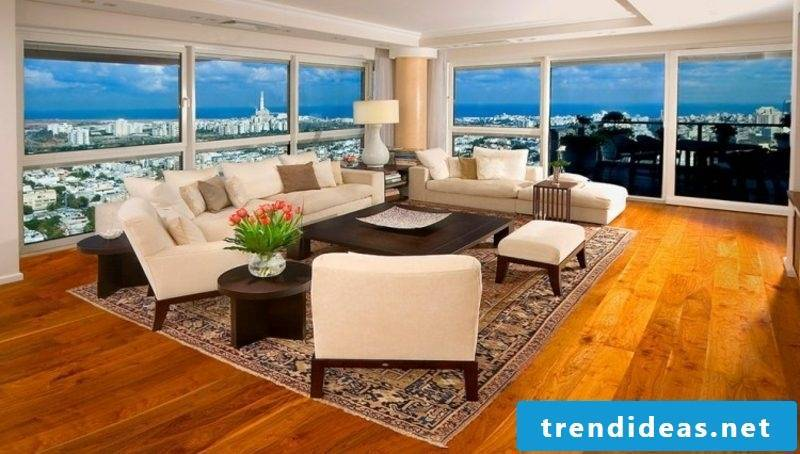 Oriental rug living room cream-colored upholstered furniture magnificent views