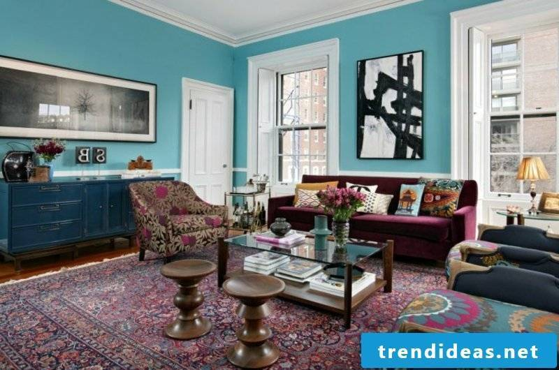 Oriental rug in the living room original decor sky blue wall paint