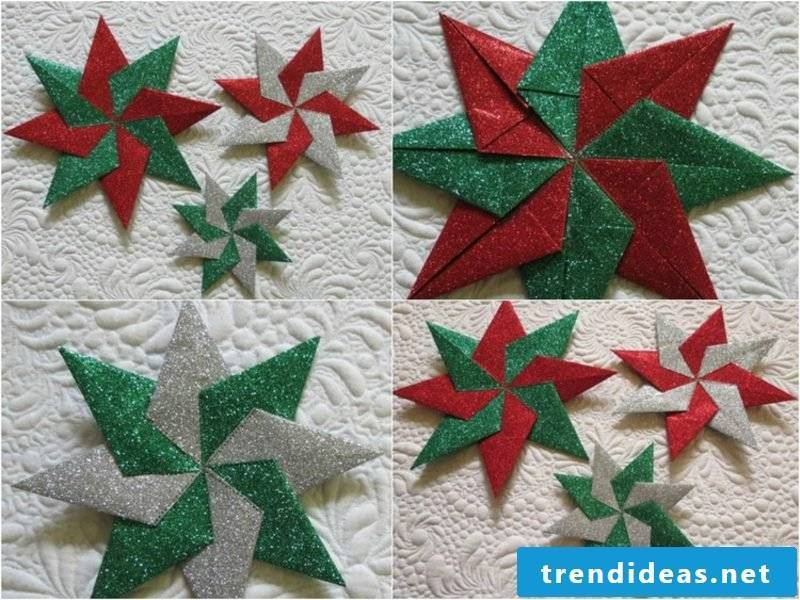Origami Christmas DIY stars made of glossy paper