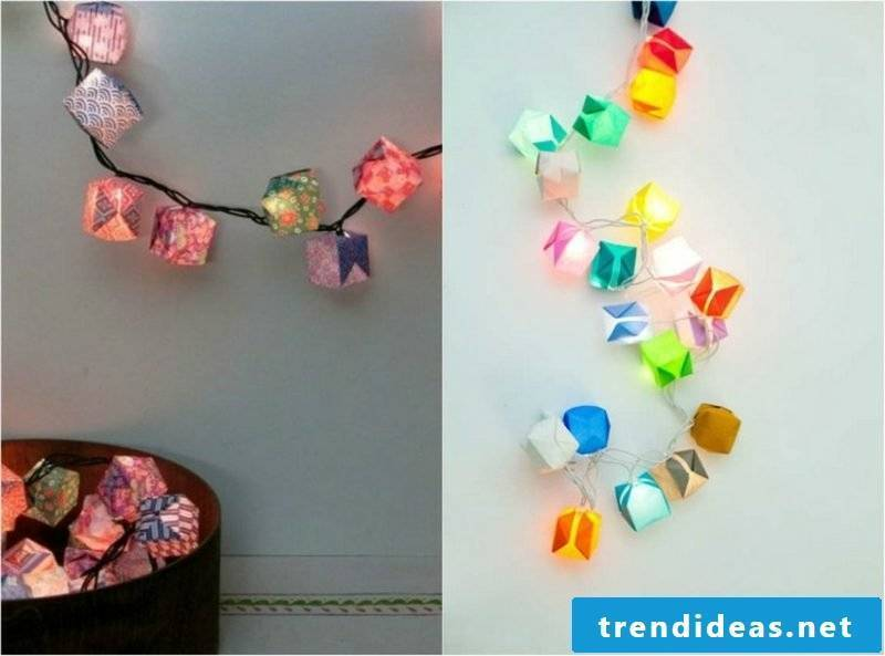 Decorate origami Christmas fairy lights with colorful paper boxes