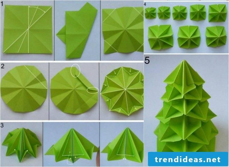 Origami Christmas fir tree original look