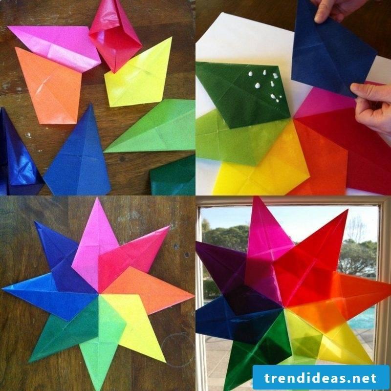 Origami Christmas star window decoration