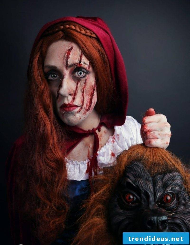 Halloween costumes Little Red Riding Hood scary look