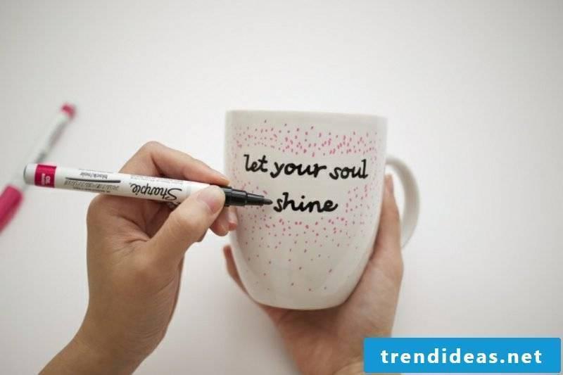 Make cups decorate porcelain