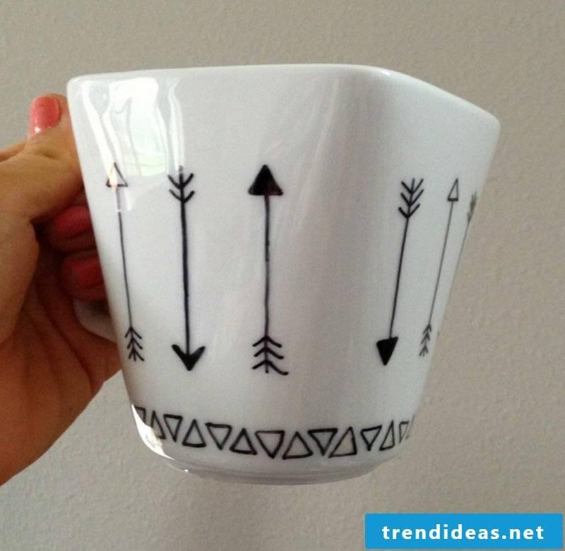 Mug shape DIY geometric triangles arrows