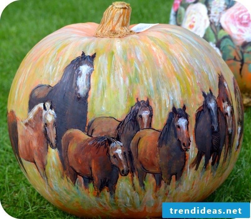 Pumpkin painted horses painted pumpkin