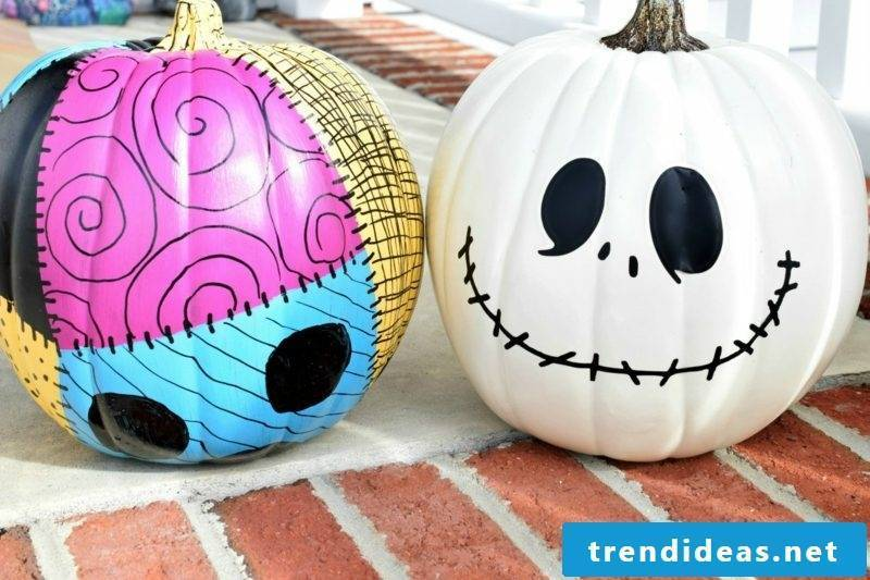 Pumpkin painting Jack and Sally