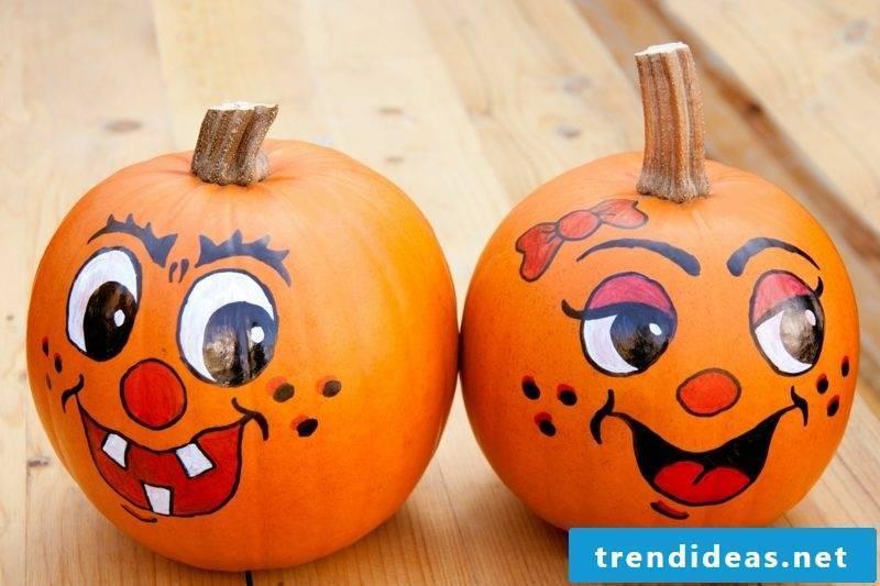Painted pumpkin heads