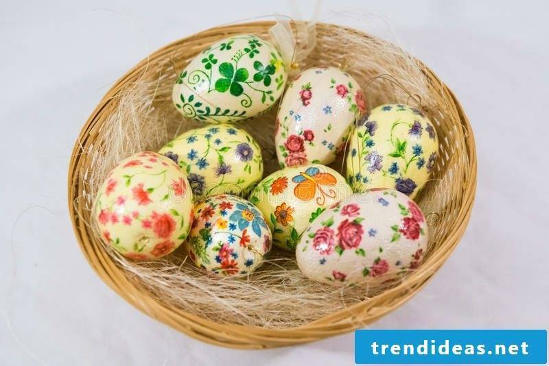 Easter eggs paint with children's decoupage