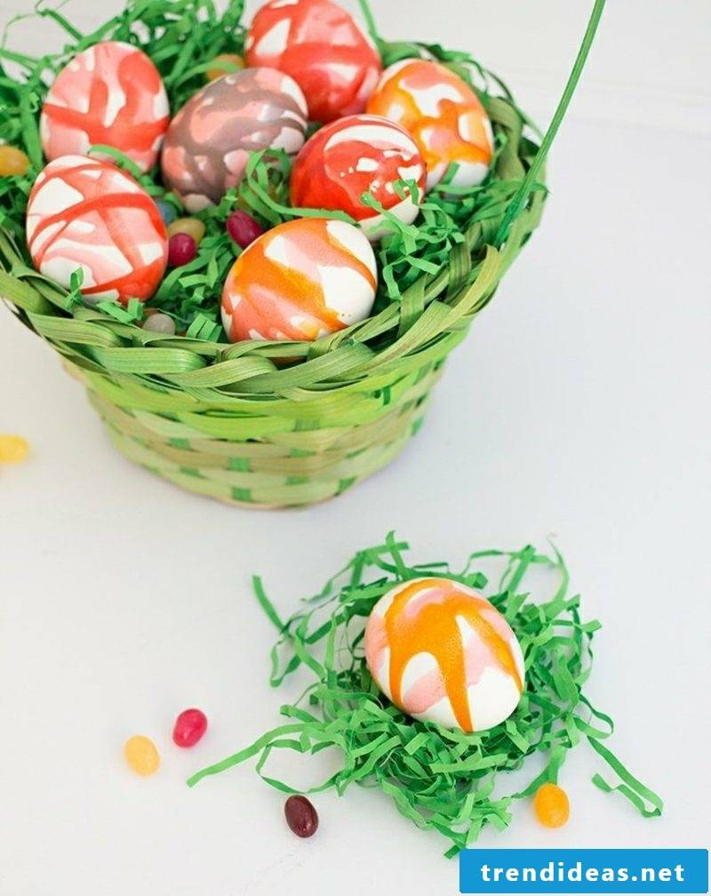 Easter eggs painted with kids watercolor gorgeous look
