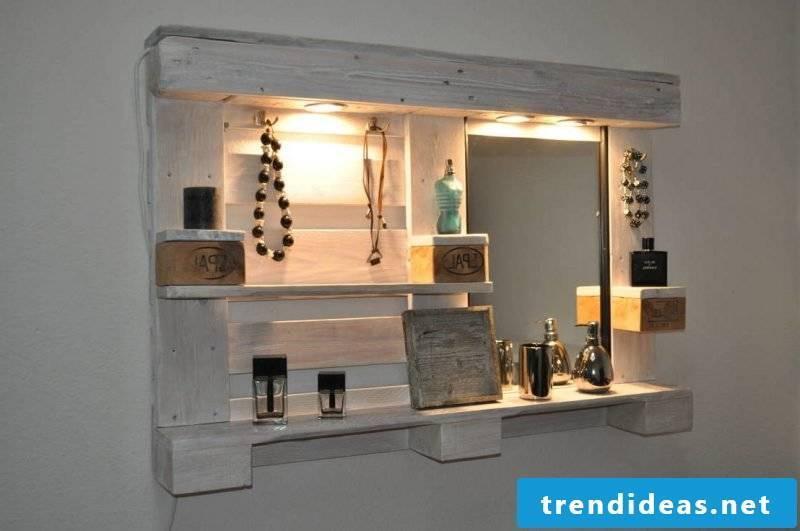 shelf of pallets mirror wall pallet furniture