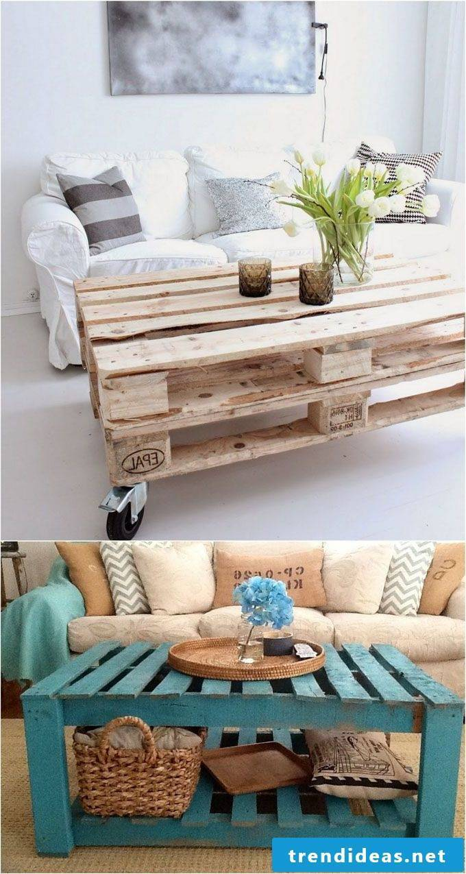 pallet furniture yourself build table from palette blue white