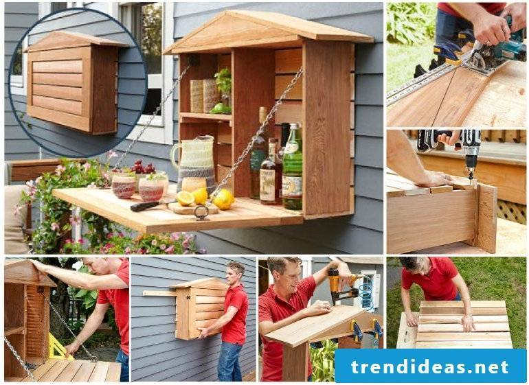 garden furniture from pallets build DIY ideas bar counter from pallets