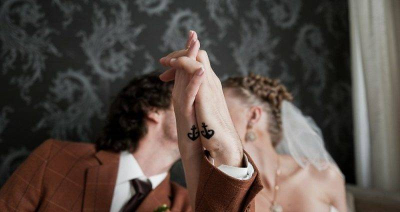 Partner Tattoos Anchor small stylized