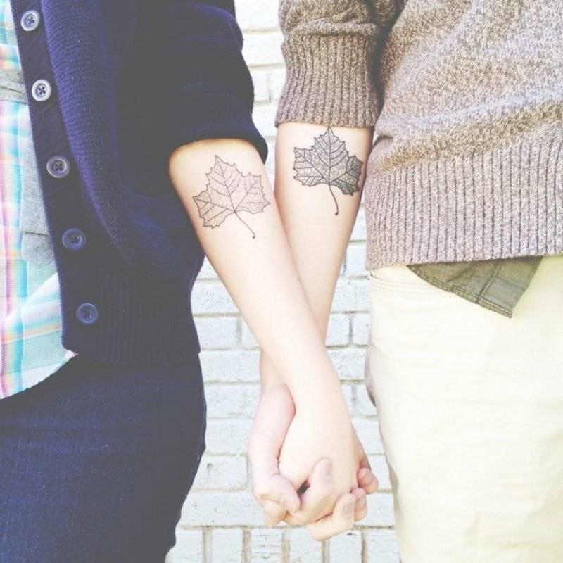 Partner Tattoos Leaves Elbows