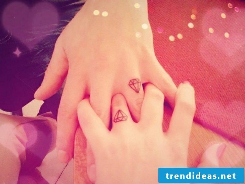 Partner tattoos finger tattoo diamonds