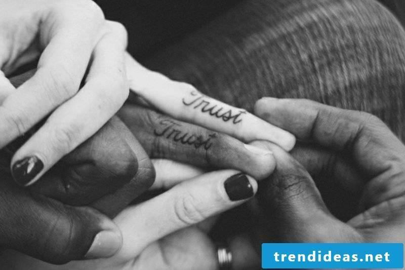 Partner tattoos font in English trust