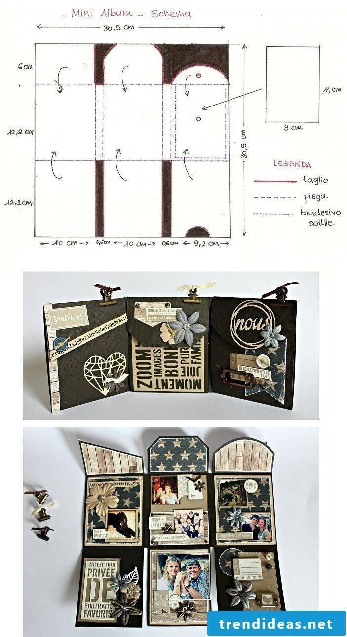 Mini photo album with instructions