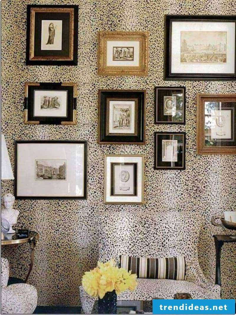 wall decorate black and gold picture frame