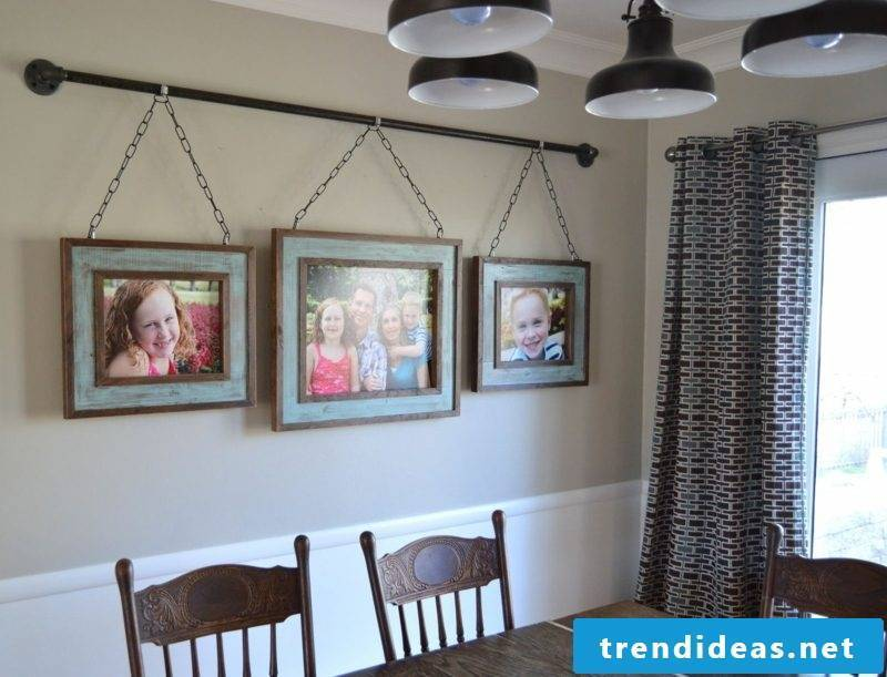 photo wall in the dining room