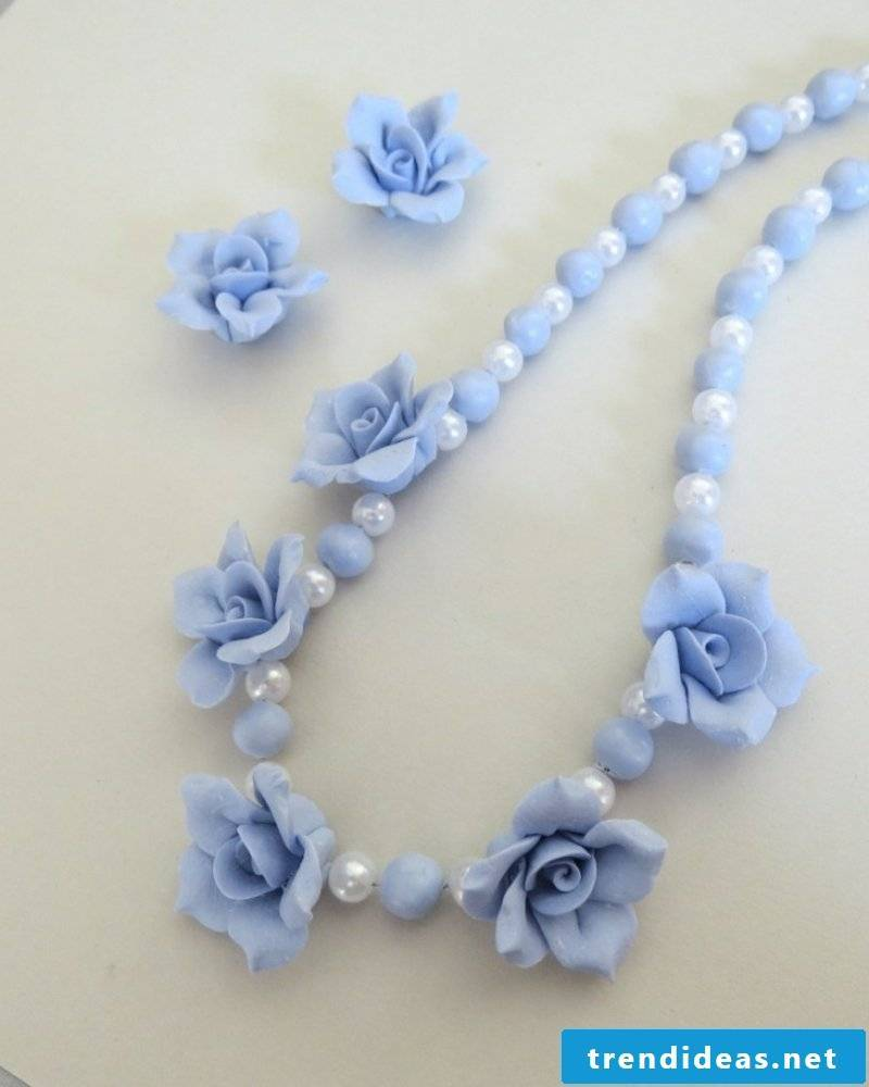 Polymer clay chain in light blue