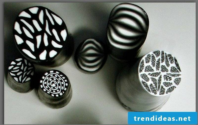 Polymer clay jewelry black and white