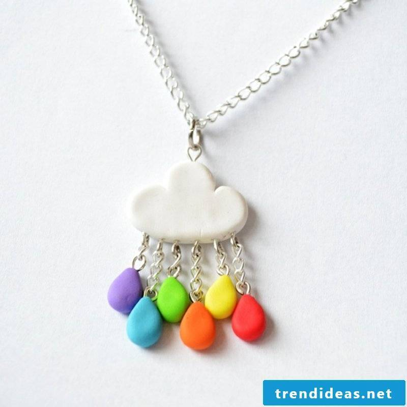 Chain colored drops polymer clay jewelry