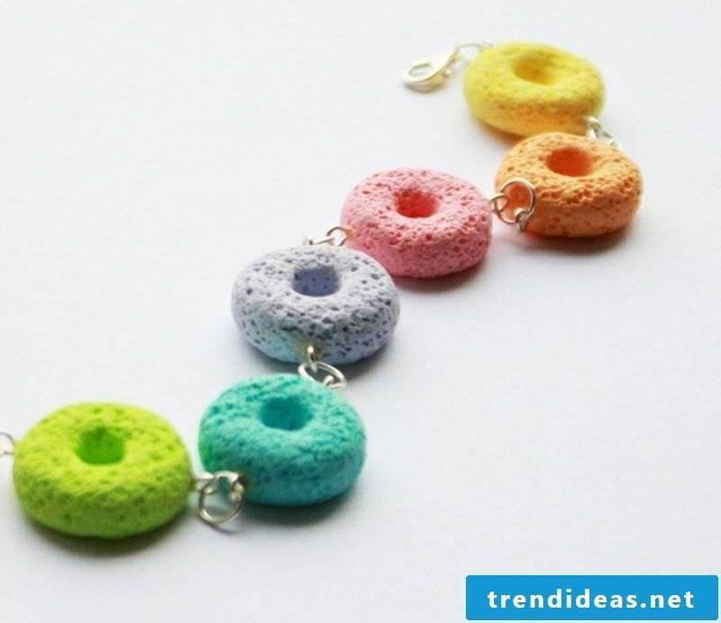 Polymer clay jewelry donuts