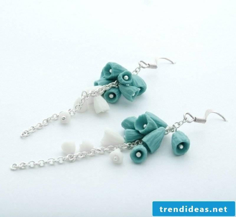 Polymer clay trinkets blue earrings