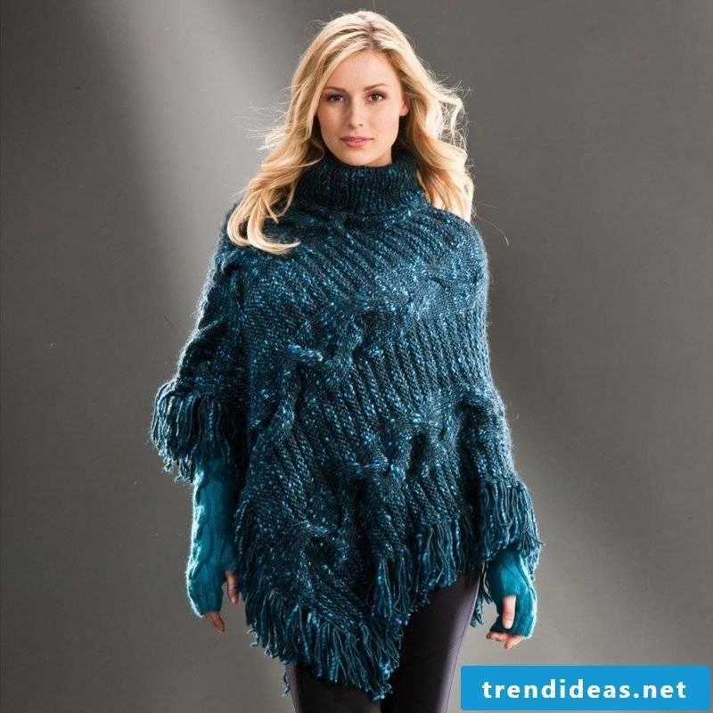 Poncho itself knit wool winter
