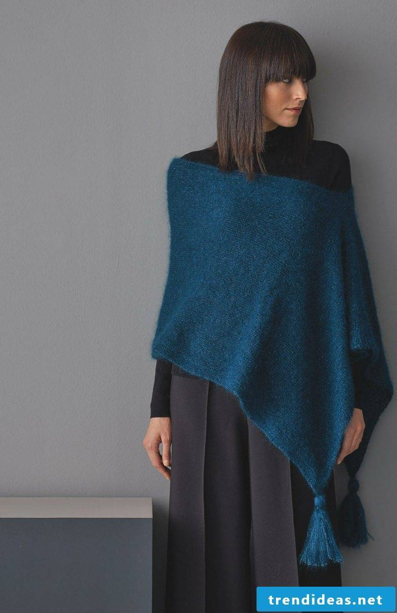 Poncho with sleeves Mohair wool