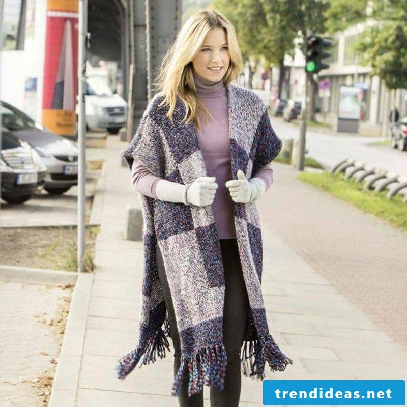 Poncho with sleeve long women's fashion