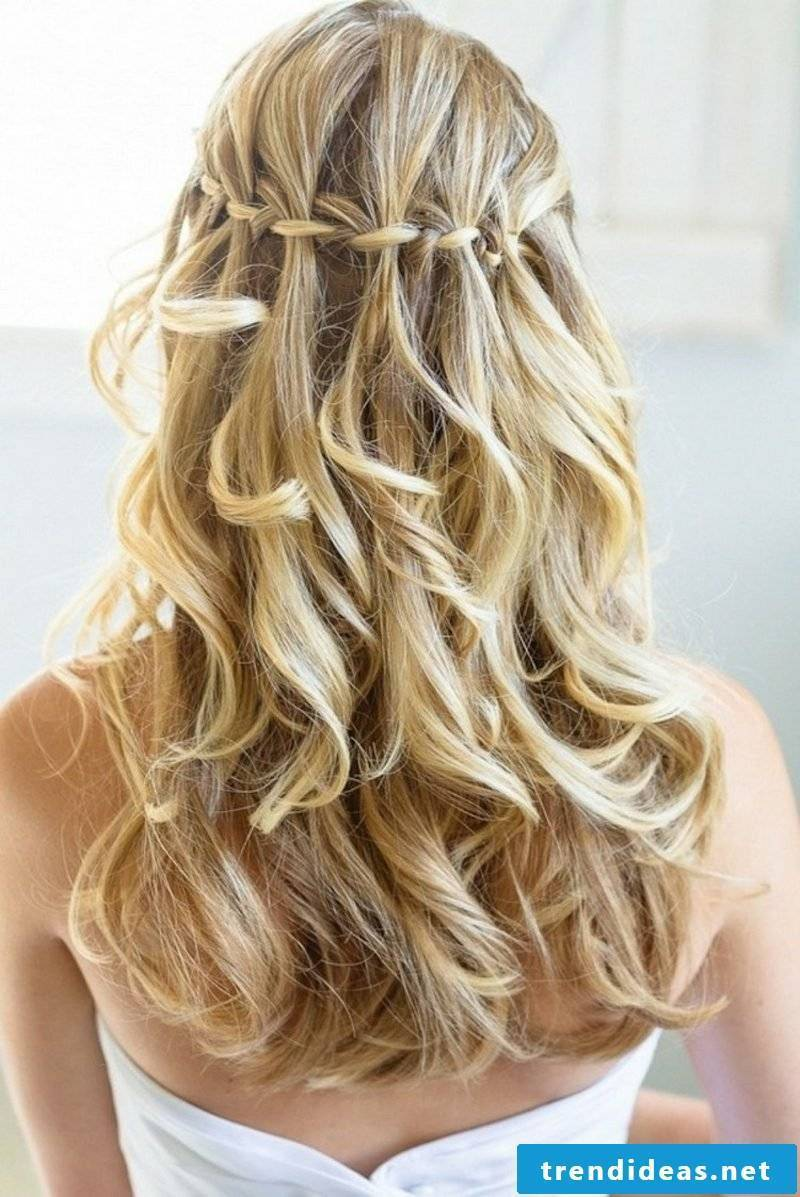 fancy hairstyles long hair waterfall braid