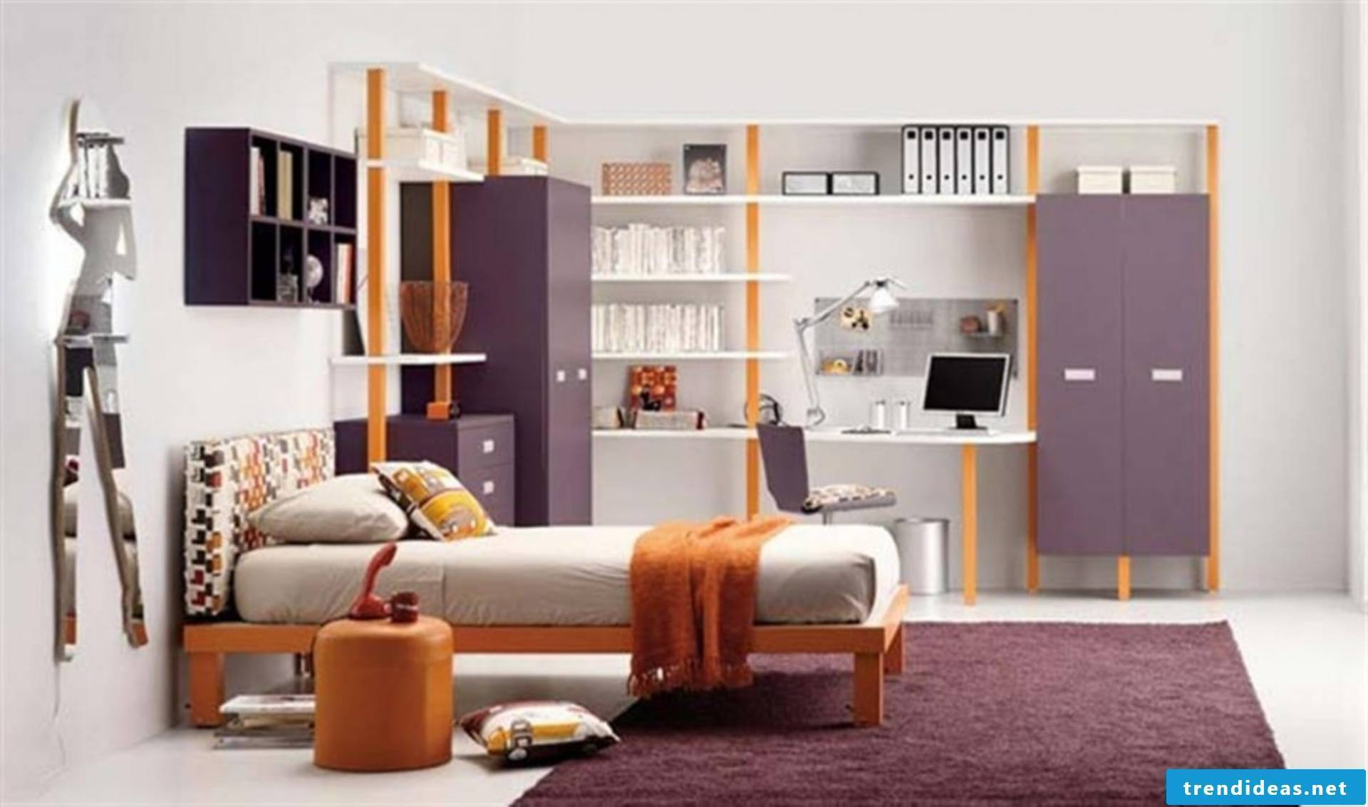 Simple youth and children's room in lilac color