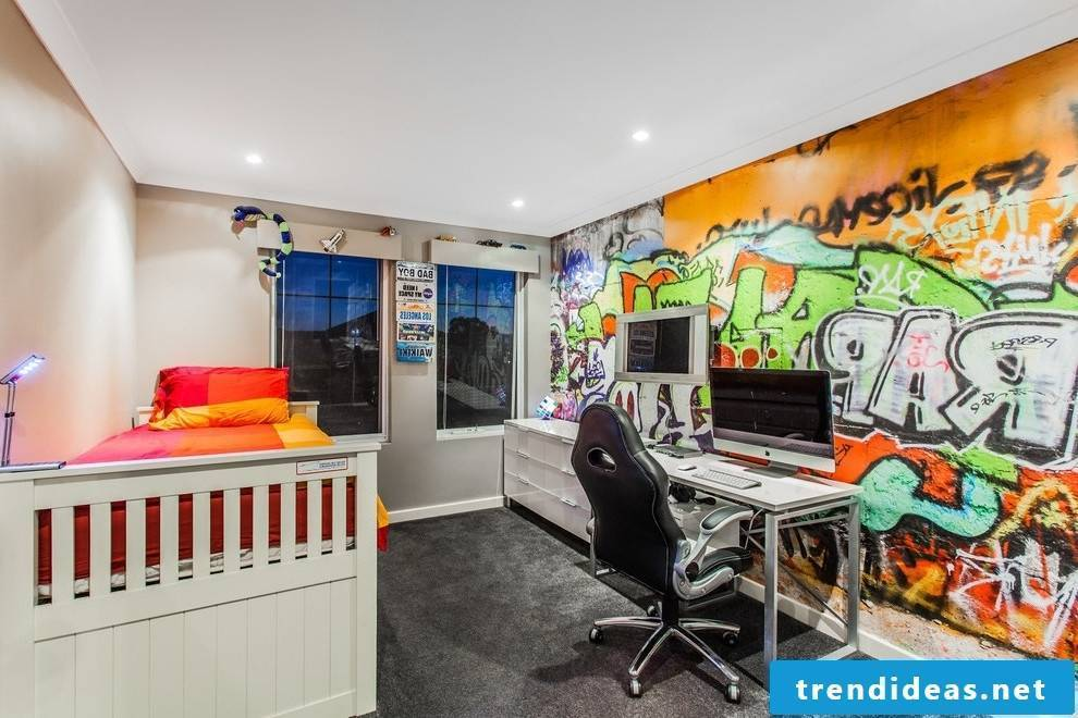 Youth room with graffiti wall