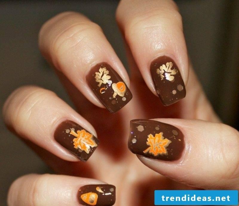 Autumn leaves nail polish chocolate brown