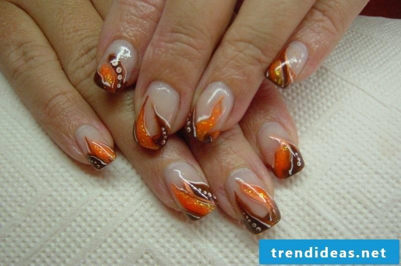 Nail pattern original brown and orange autumn