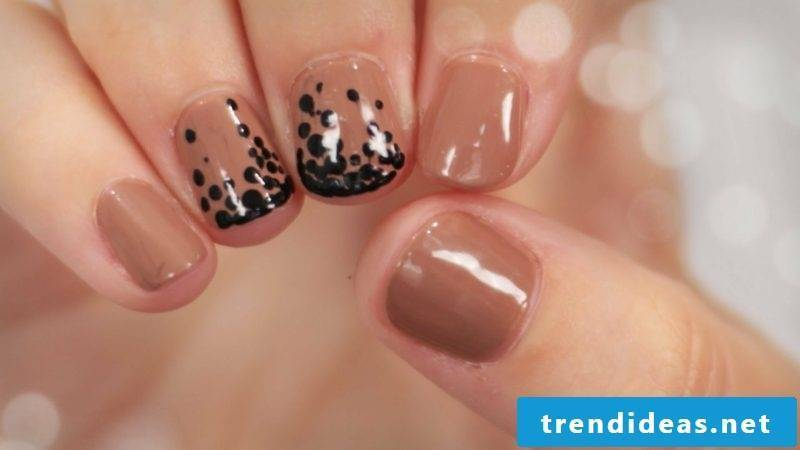 interesting nail design in brown