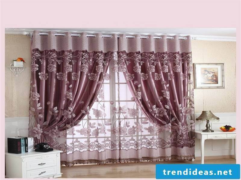 delicate lilac-shaded window curtains