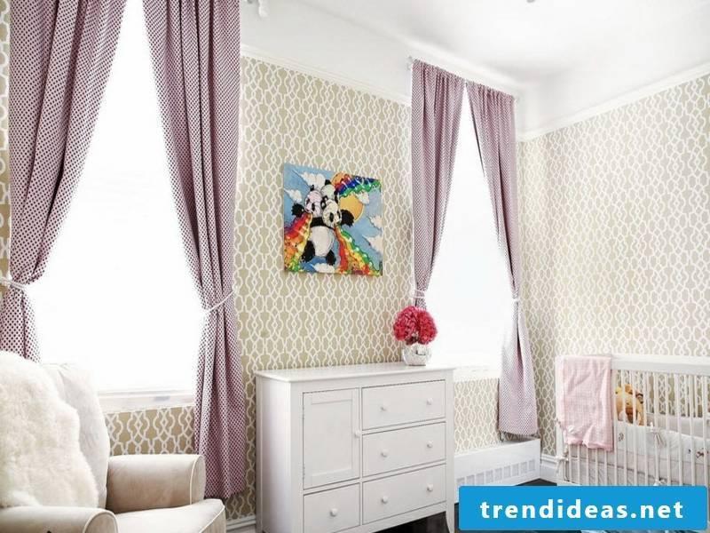purple window curtains in the designer kids room