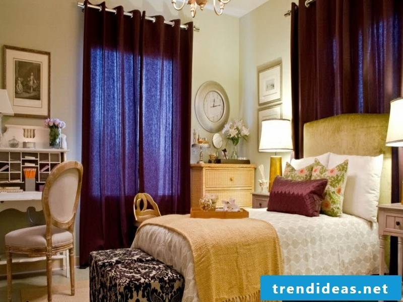 Purple lilac window curtains in the bedroom
