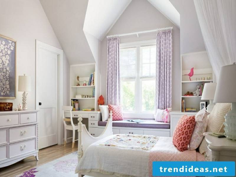 children's room with beautiful purple window curtains