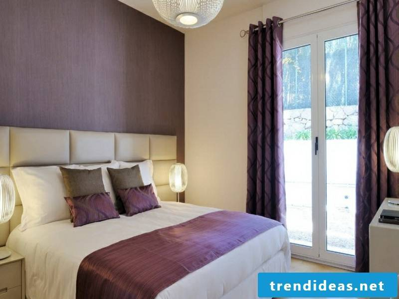 Elegant lighting in the room with purple window curtains